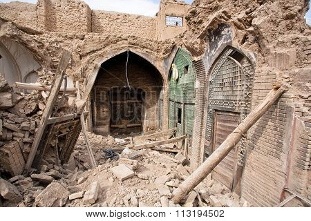 Destroyed Buildings And Shops Of The Old Persian Bazaar In Isfahan, Iran.