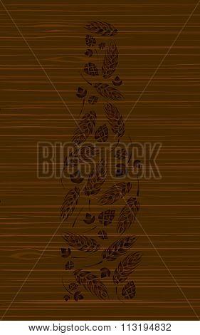 Decorative vector bottle of beer