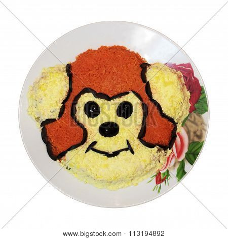 Dish With Monkey Isolated