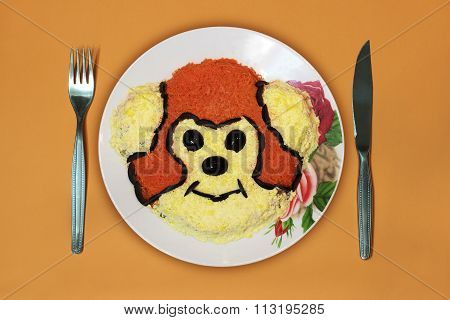 Dish, Monkey, Knife, Fork