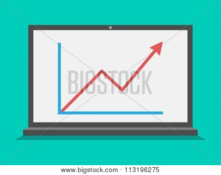 Laptop With Growth Graph