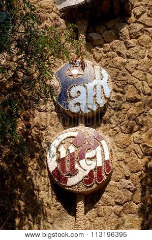 The sign of the Parc Güell In Barcelona, Spain