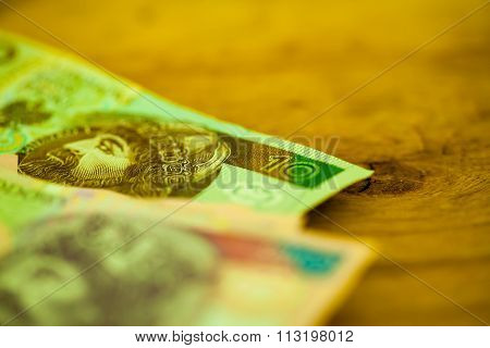 Polish Zloty Banknotes Currency On Table