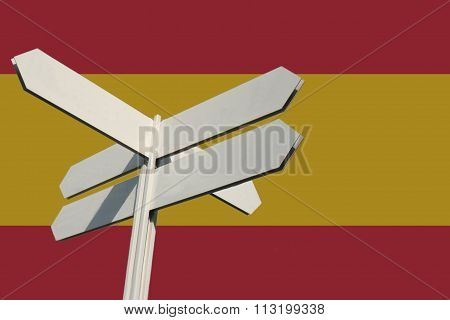 Spanish tourist sign with flag background