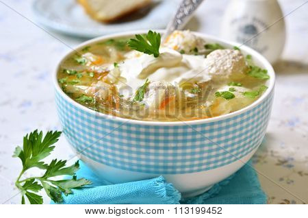Cabbage Soup With Chicken Meatballs.