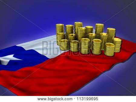 Chilean economy concept with national flag and golden coins