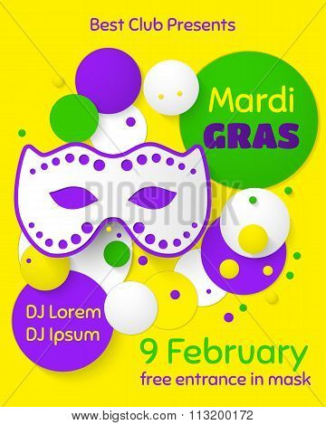 Mardi Gras party poster design. Template of poster.