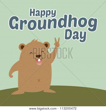 Groundhog Saying Happy Groundhog Day