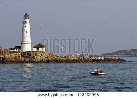 Fishing Near Boston Harbor Lighthouse