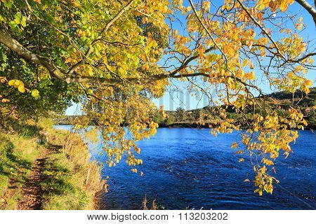 Autumn Landscape And River Dee In Aberdeen, Scotland Uk.