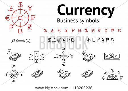 Dollar, Euro, Pound, Yen, Ruble, Rupee, Shexel, Peso, Bitcoin currency icons set. USD, EUR, JPY,  GB