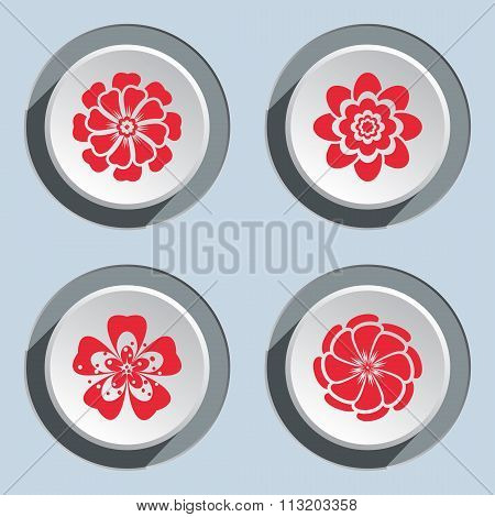Flower circle icons set. Dahlia, aster, daisy, chamomile, gowan. Autumn floral symbol. Round red fla