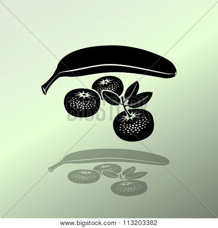 Banana, mandarin icon. Four fruits. Black silhouette with shadow on light green background. Flat des