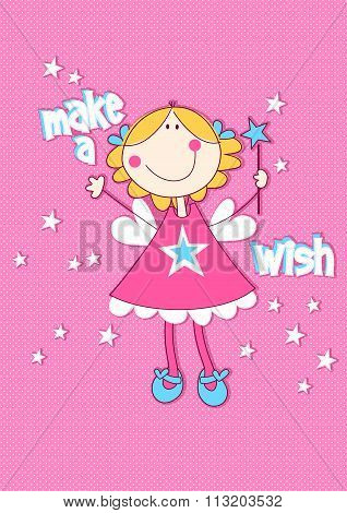 Make A Wish With Girl On Spotted Background