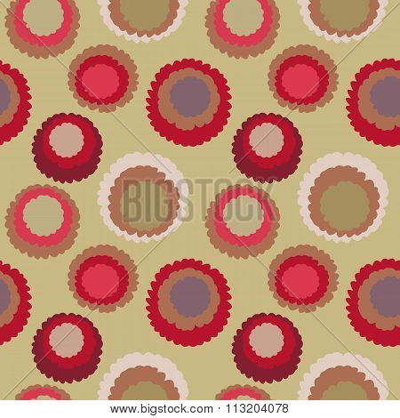 Seamless geometric polka do spotty pattern. Motley texture with circles. Round blots doodles. Brown,
