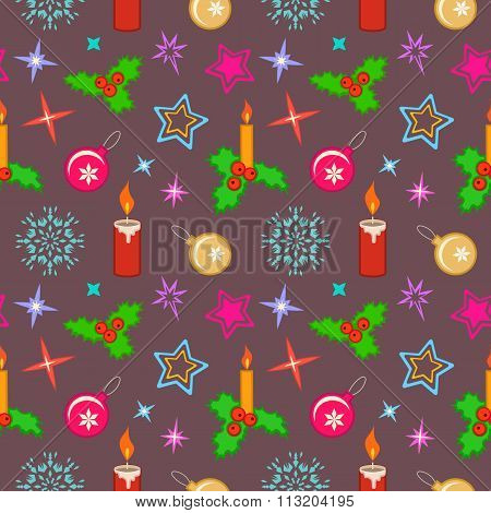 Seamless christmas pattern. Bright colored holly berry, candles, balls, stars, snowflakes on brown b