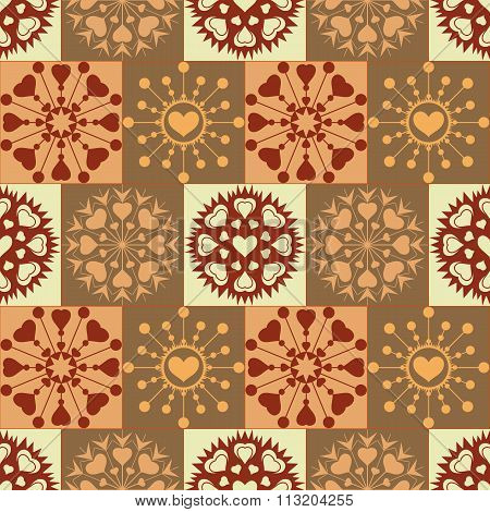 Christmas seamless pattern of heart snowflakes. New Year, Valentine day, birthday texture. Gold, bro