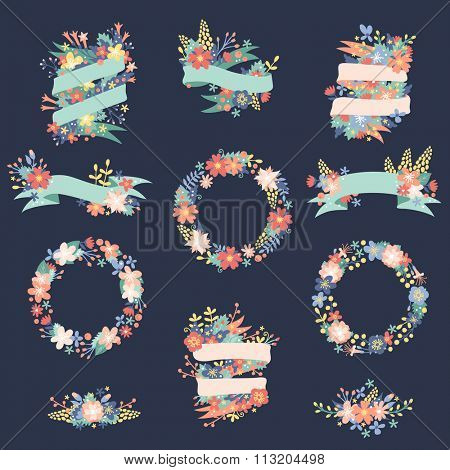 Nature flowers wreath with flowers, foliage ribbons. Greeting holidays card vector template. Flowers vector, wreath vector silhouette. Flat modern style. Flowers and ribbons vector decoration template