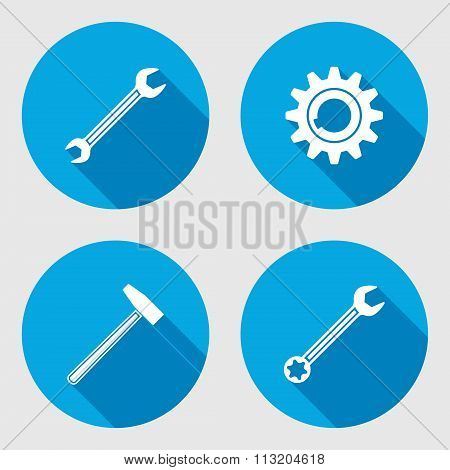Screwdriver, hammer, wrench key icon, bolt nut, glue, oil-can. Repair fix tool symbol. Round circle
