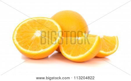 Whole Orange Fruit And His Segments Or Cantles Isolated On White