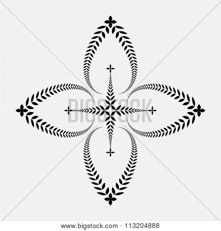 Laurel wreath tattoo. Black ornament. Cross sign on white background.  Defense, peace, glory symbol.