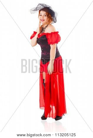 Elegant Retro Woman Wearing Red Gown with Veil