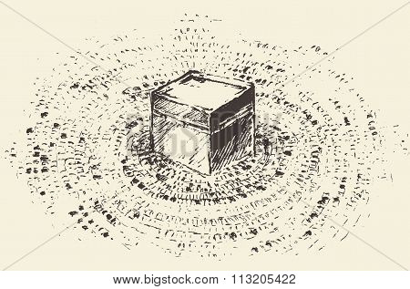 Holy Kaaba Mecca Saudi Arabia muslim vector drawn