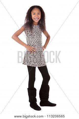 Ethnic Girl On White Background