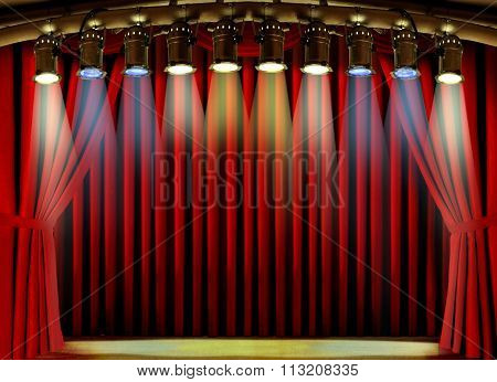 Empty Stage With Red Curtain And Spot Lights