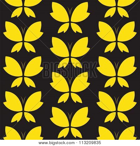 Vector Seamless Pattern With Yallow Butterfly On Black Background. Wallpaper