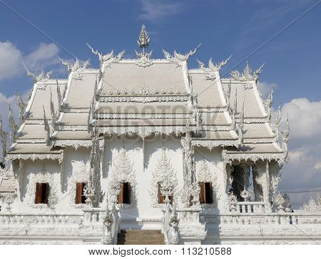Art And Sculpture Design Of White Temple In Thailand