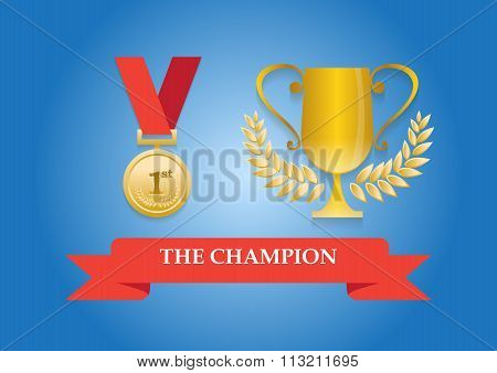 Champion Medal And Trophy