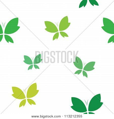 Vector Seamless Pattern With Green Butterfly On White Background. Wallpaper
