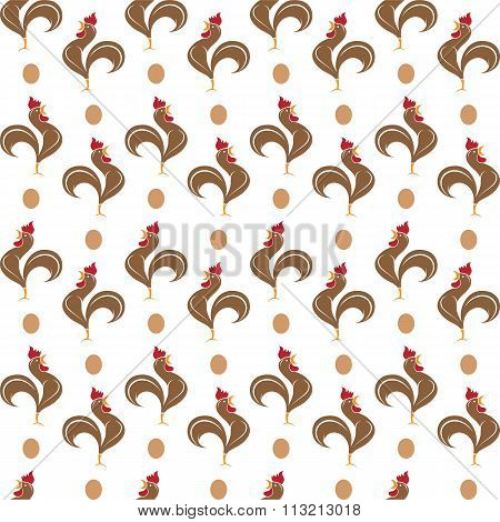 Cock Vector Art Background Design For Fabric And Decor. Seamless Pattern