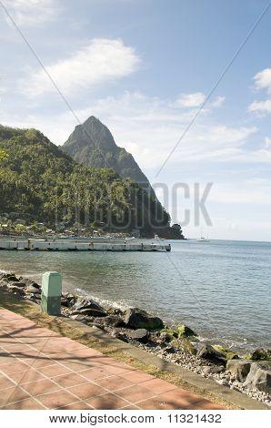 Waterfront Park Harbor Soufriere St. Lucia Caribbean