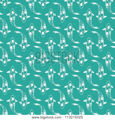 Koi Fish Vector Art Background Design For Fabric And Decor. Seamless Pattern