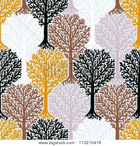 Vector pattern with tree silhouette and leafs in organic colors for fall winter fashion or Christmas wrapping paper. Fun, elegant, natural print with woods. Retro style  seamless background