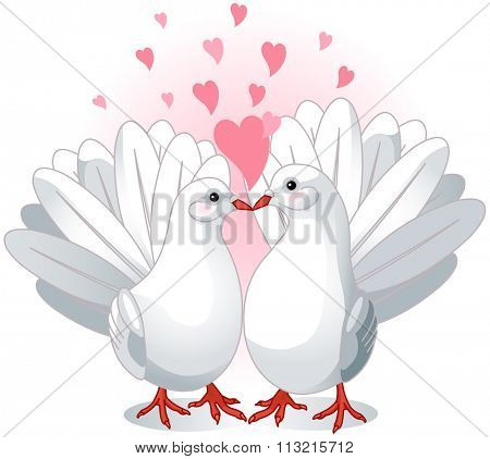 Illustration of two white doves pressing together and forming a heart shape