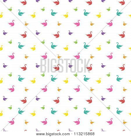 Vector Seamless Pattern With Swan On White Background. Wallpaper