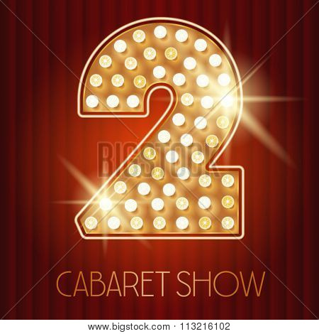 Vector shiny gold lamp alphabet in cabaret show style. Number 2