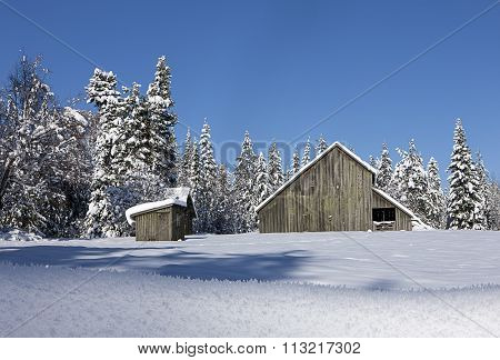 Looking Back At Snow Covered Barn.