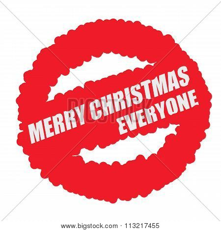 Merry Christmas Everyone White Stamp Text On Blood Drops Red Circle Background