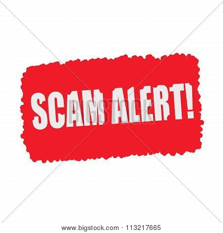 Scam Alert  White Stamp Text On Blood Drops Red Background