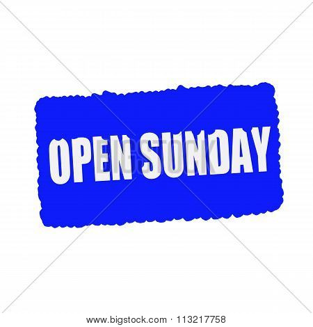 Open Sunday White Stamp Text On Blood Drops Blue Background