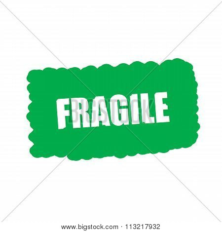 Fragile White Stamp Text On Green Background