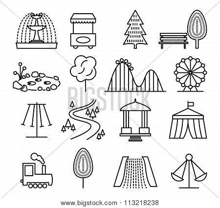 Park landscape and amusement line icons vector set