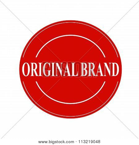 Original Brand White Stamp Text On Circle On Red Background