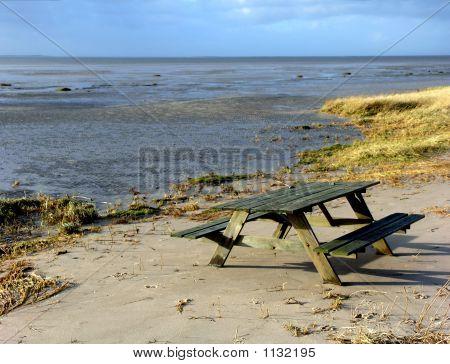 Abandoned Picnic Table Romo Beach