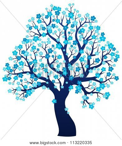 Silhouette of blooming tree theme 2 - eps10 vector illustration.