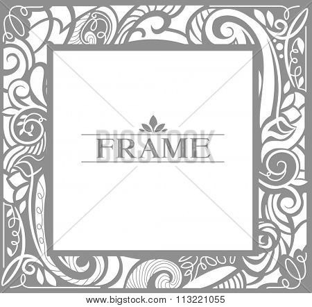 Illustration of a Vintage Frame Decorated with Faded Black Swirls